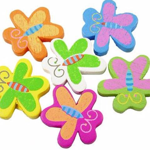 Wooden Beads - Large Wooden Butterfly Beads - 50 Pack