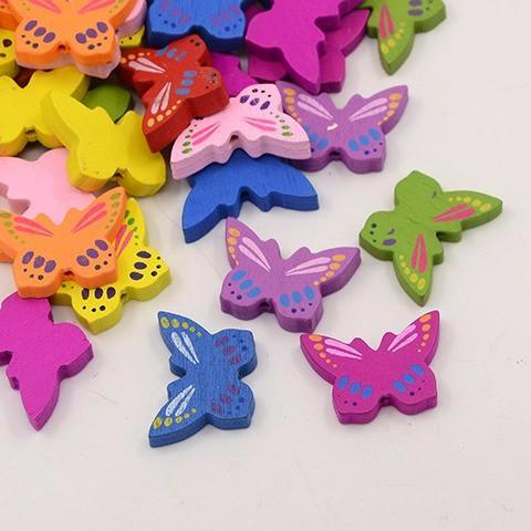 Wooden Beads - Wooden Butterfly Beads - 20 Pack