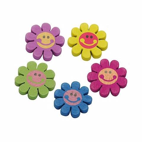 Wooden Beads - Wooden Smiley EDC Daisy - Flower Beads