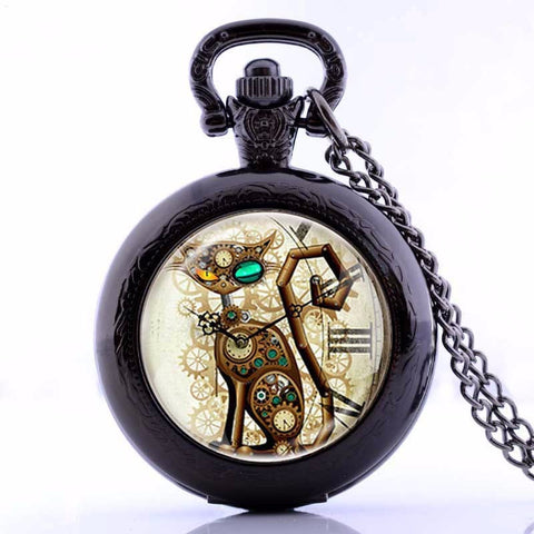 Steampunk Gear Cat Pocket Watch With Necklace