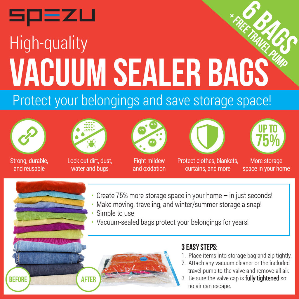 ... Vacuum Space Saver Bags - Reusable Sealer Storage Bags with Durable Compression ...  sc 1 st  Cosless & Vacuum Seal Storage Bags - Reusable Space Saver For Clothes u2013 Cosless