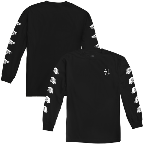 Wings Black Longsleeve T-Shirt | Lurking Class by Sketchy Tank