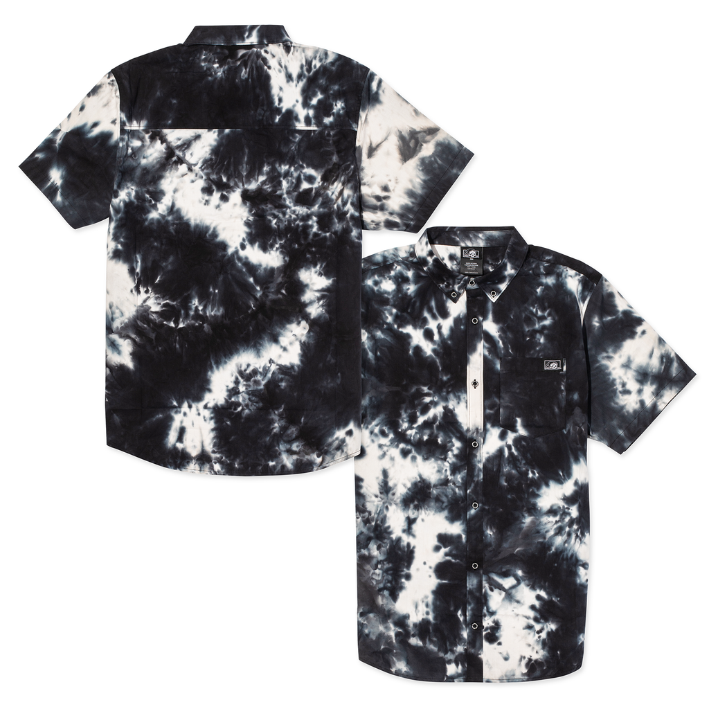 LC Marble Short Sleeve Button Up Shirt - Black