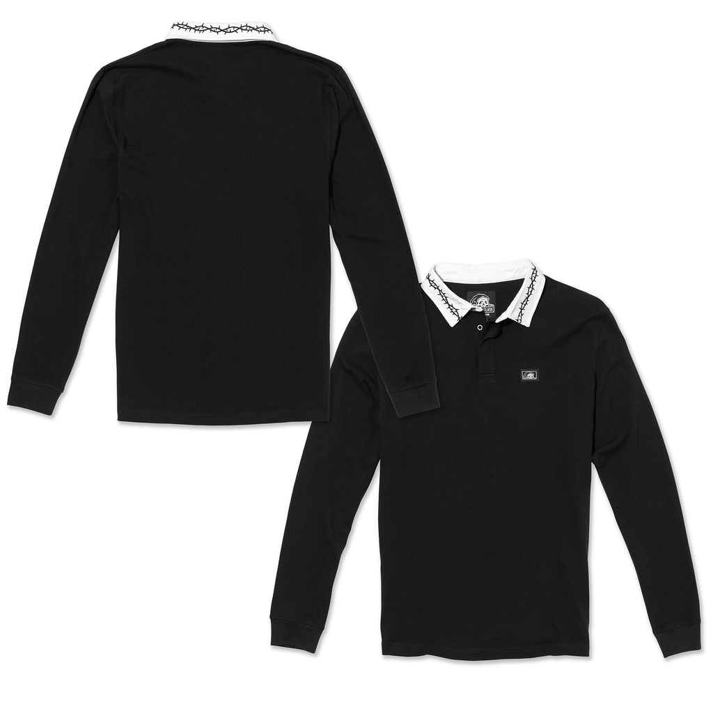 Thorns Long Sleeve Rugby Shirt - Black