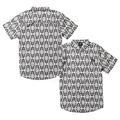 Power Woven Button Up SS - White/Black
