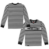 Peeking Striped Long Sleeve Shirt - Black/White