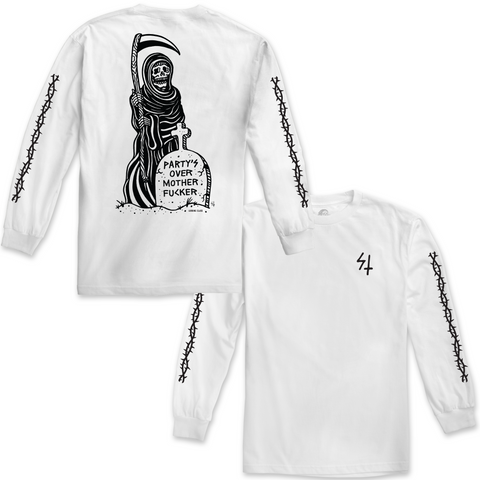 Partys Over Long Sleeve Tee - White