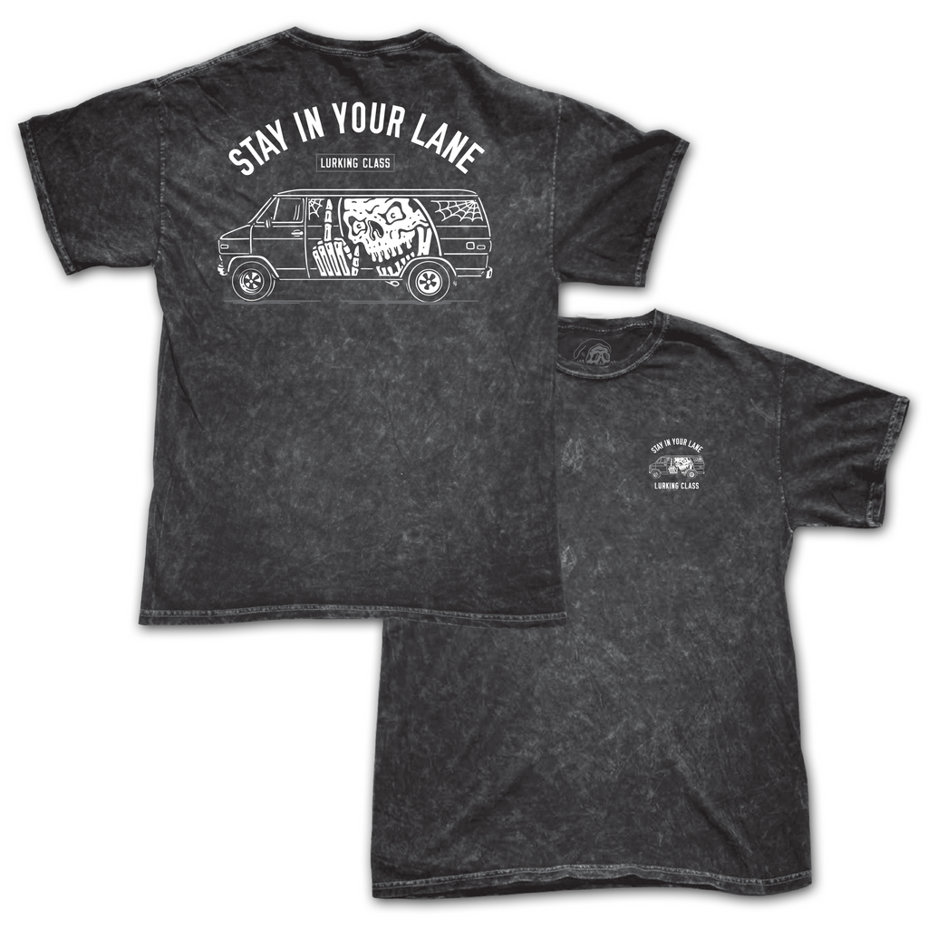 Vannin' Tee - Black Acid Wash