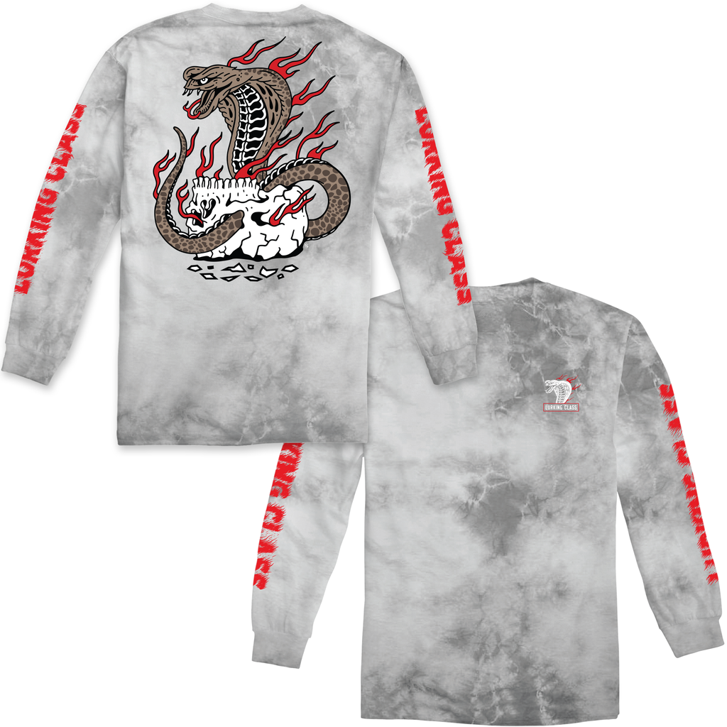 Cobra Fire Long Sleeve Tee - Grey Tie Dye