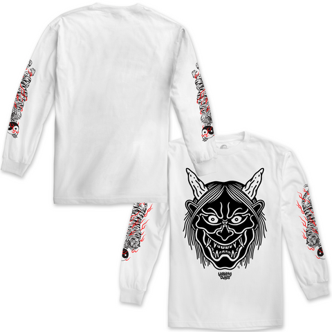 Hannya Fire Long Sleeve - White