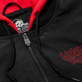 Fang Hooded Bomber Jacket - Black/Red