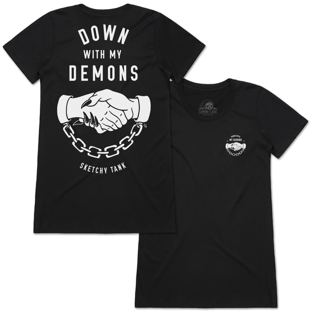 Down With My Demons Tee - Black / White