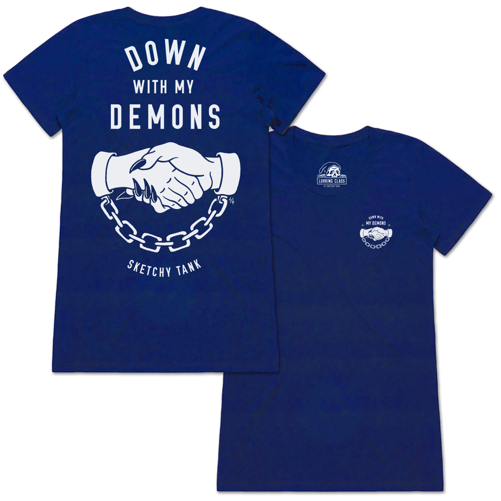 Down With My Demons Tee - Cool Blue