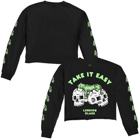 Catnap Women's Glow In The Dark Cropped Longsleeve T-Shirt | | Lurking Class by Sketchy Tank