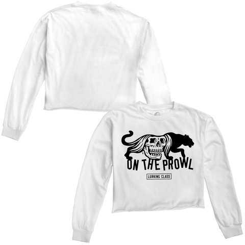 On The Prowl Women's Longsleeve Crop Tee - White