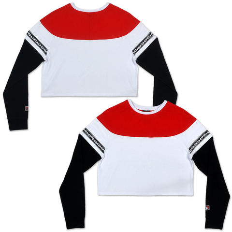 THORNS WOMENS CROPPED LONG SLEEVE - WHITE/BLACK/RED