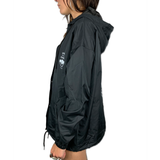 DOWN WITH MY DEMONS WOMENS HOODED COACHES JACKET - BLACK