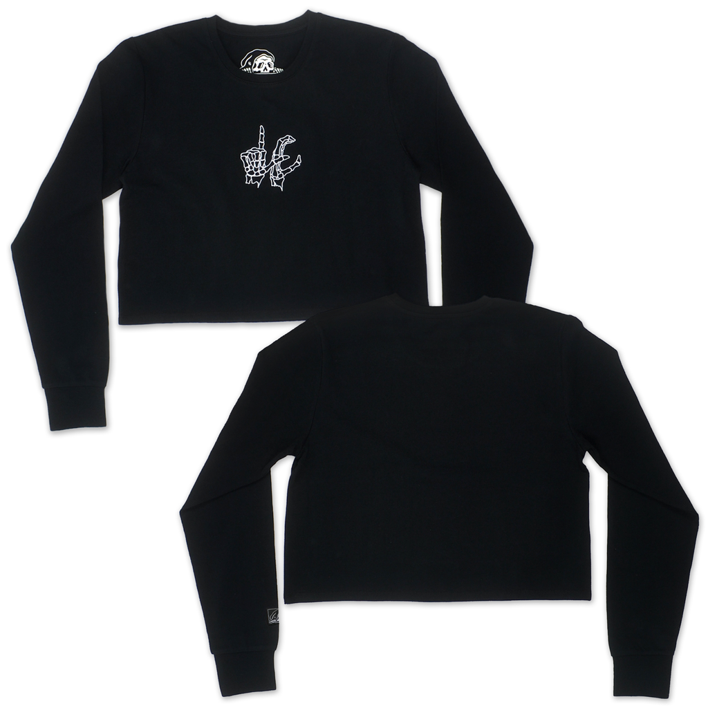 LC Signs Cropped Women's Long Sleeve - Black