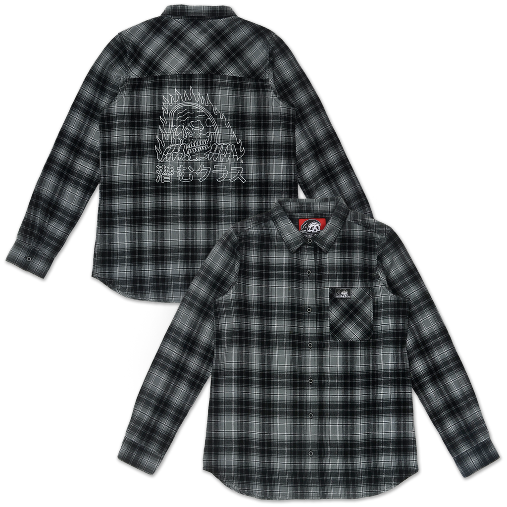 Flames Women's Plaid Flannel - Black/Grey
