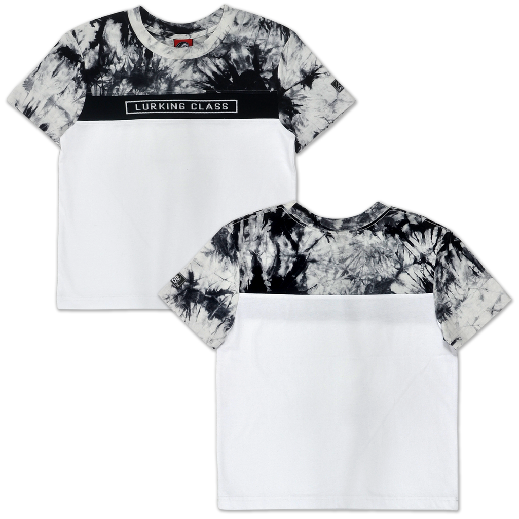 LC Tie Dye Color Block Women's Tee - Black/White