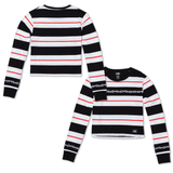 Thorns Stripe Cropped Women's Long Sleeve - Black/White/Red