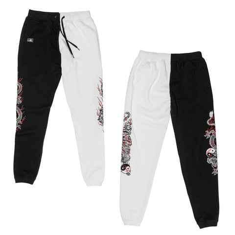 Yin Yang Split Women's Sweatpants - Black/White