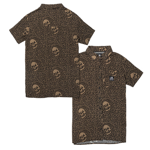 Death Leopard Women's Short Sleeve Button Up Shirt - Death Leopard