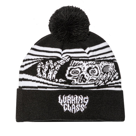 Peeking Pom Beanie - Black/White