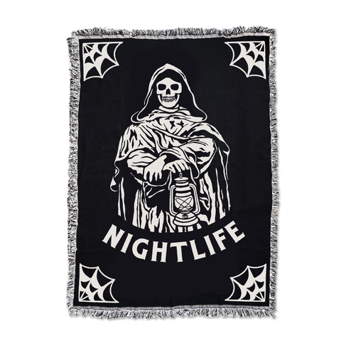 Nightlife Black / Natural Woven Tapestry | Lurking Class by Sketchy Tank
