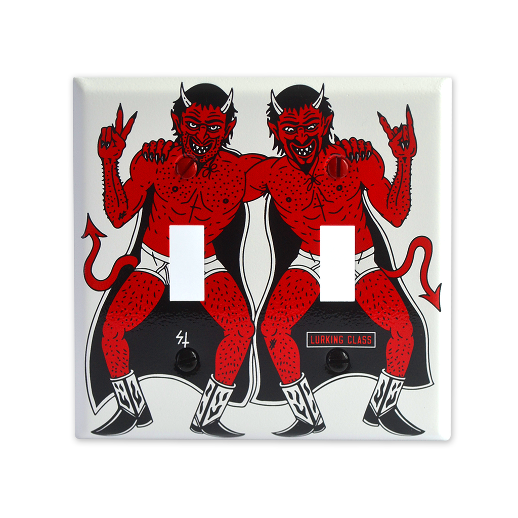 Double Devil Light Switch Cover - White / Red