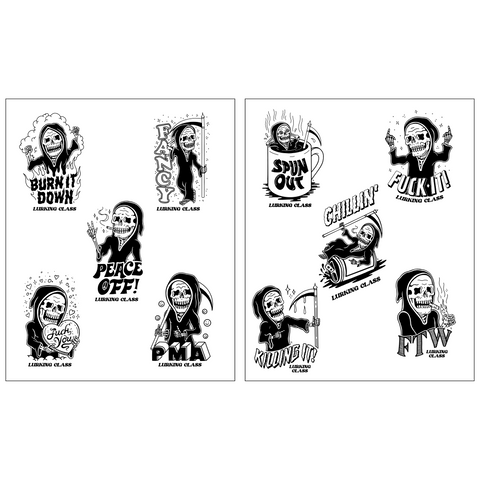 Lurkers R.I.P. moji Sticker Sheet (2) - Black/White