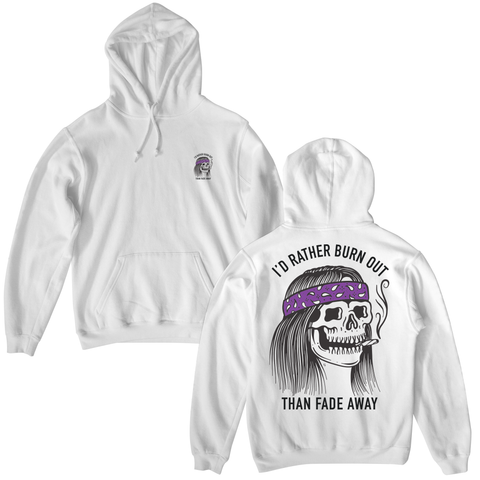 Burner Pullover Hoodie - White / Purple | Lurking Class by Sketchy Tank