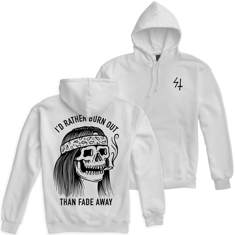 Burner White Pullover Hooded Sweatshirt | Lurking Class by Sketchy Tank