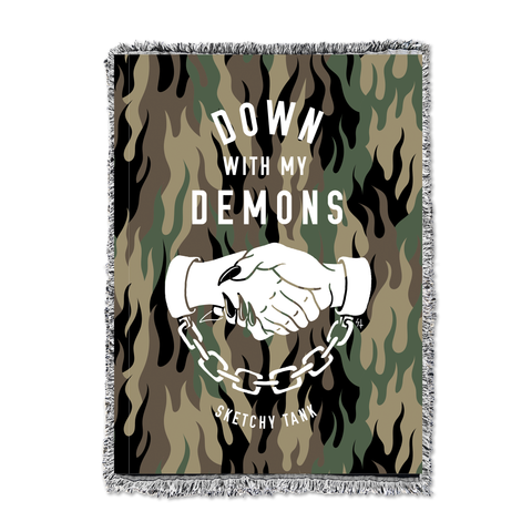 Down With My Demons Woven Tapestry - Fuegoflage