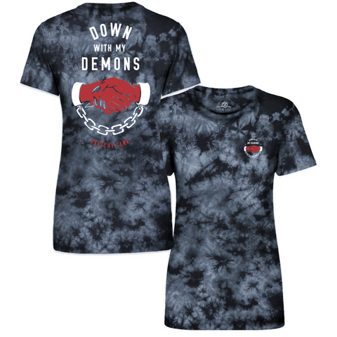 Down With My Demons Women's Black Tie Dye T-Shirt | Lurking Class by Sketchy Tank