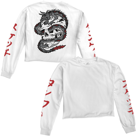 Dragon Womens Longsleeve Crop T-Shirt White / Red | Lurking Class by Sketchy Tank