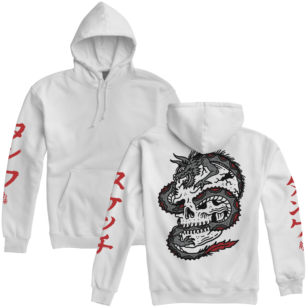Dragon Womens Pullover Hooded Sweatshirt White / Red | Lurking Class by Sketchy Tank