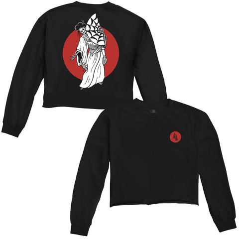 Geisha Womens Crop Longsleeve T-Shirt Black / Red | Lurking Class by Sketchy Tank