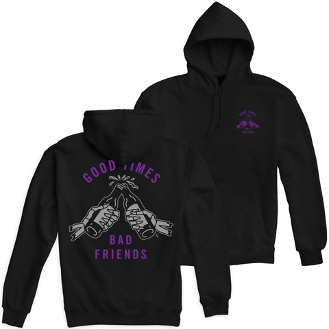 Good Times Bad Friends Black / Purple Pullover Hooded Sweatshirt | Lurking Class by Sketchy Tank
