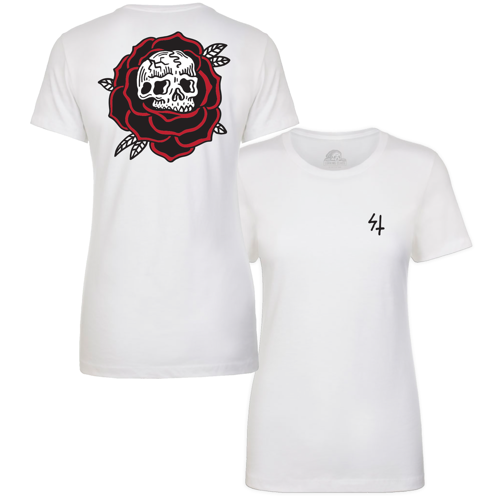 Rose White / Red Womens Shortsleeve T-Shirt | Lurking Class by Sketchy Tank