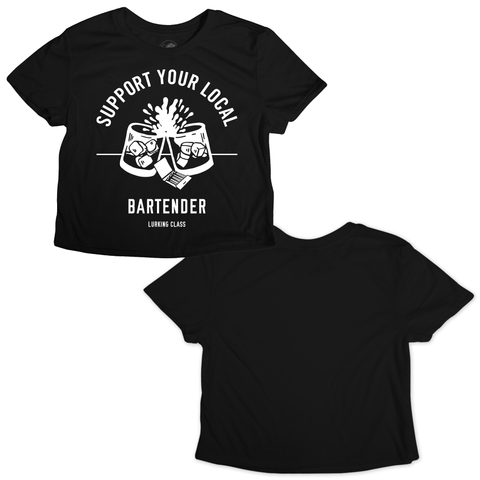 Support Your Local Bartender Crop T-Shirt - Black | Lurking Class by Sketchy Tank