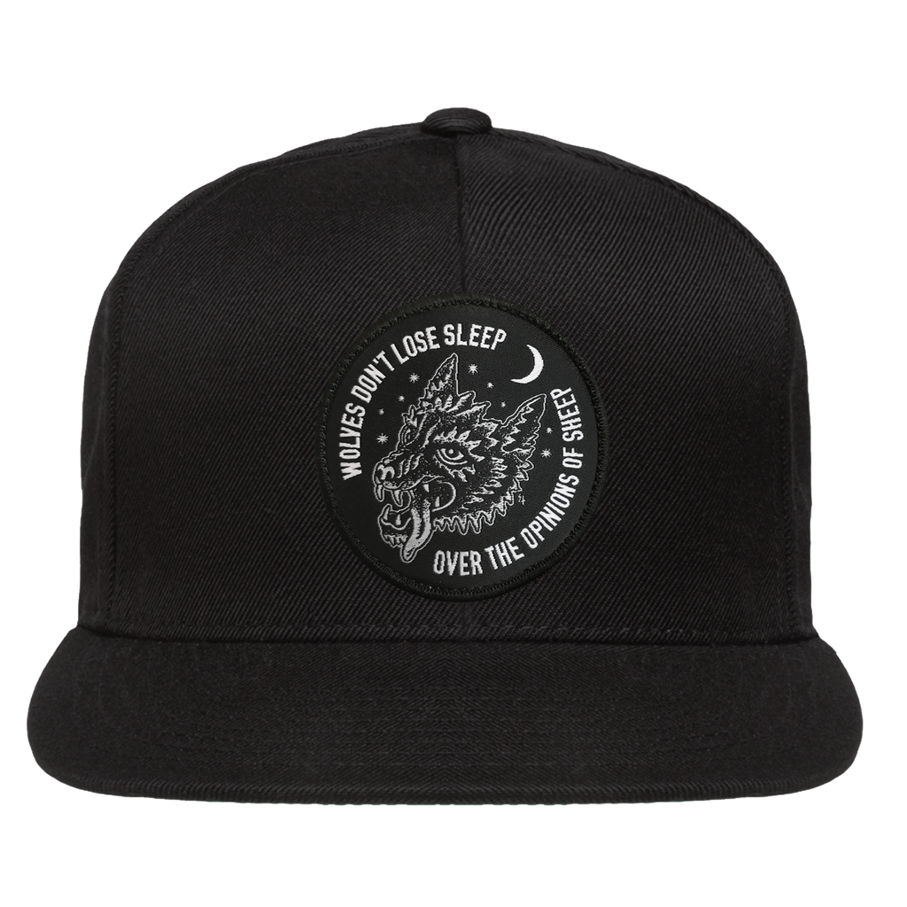 Wolves Don't Lose Sleep Over The Opinions Of Sheep Snapback Hat - Black | Lurking Class by Sketchy Tank
