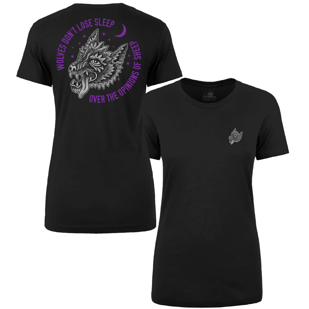 Wolves Don't Lose Sleep Over The Opinions Of Sheep Womens T-Shirt Black/Purple | Lurking Class by Sketchy Tank