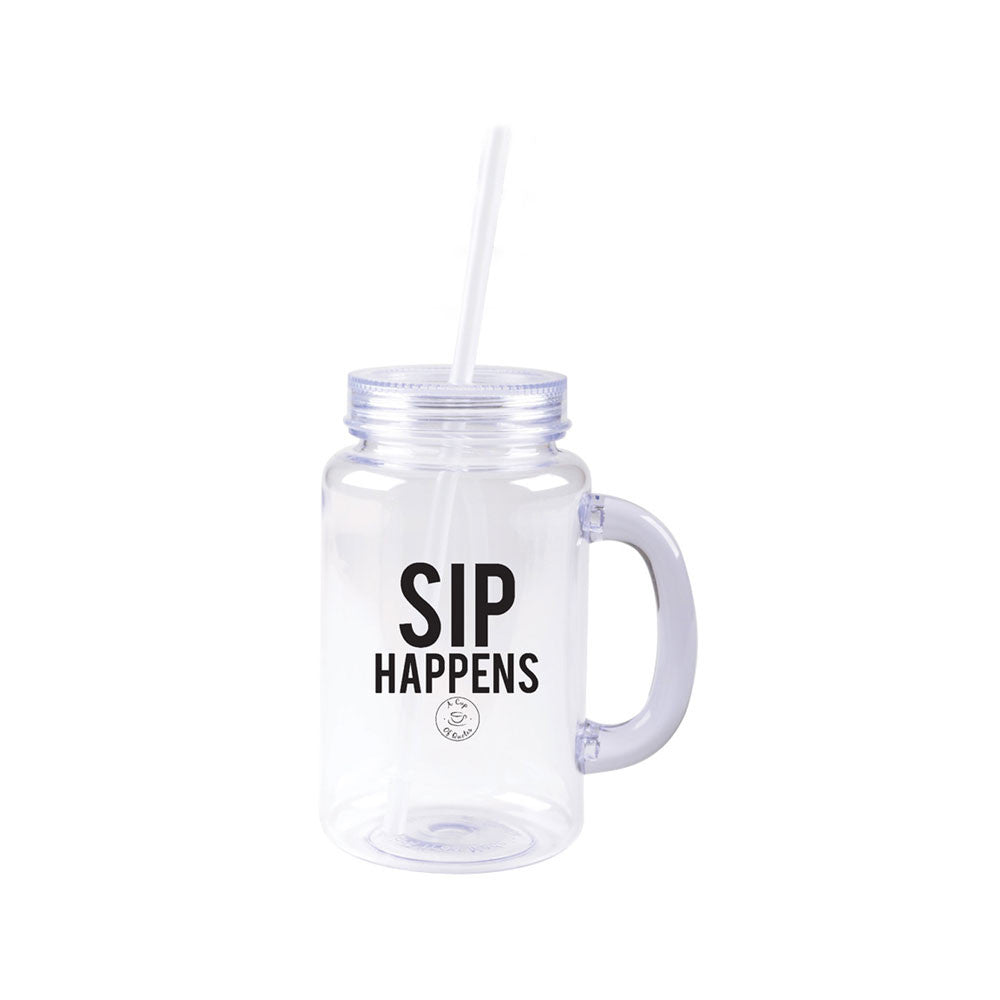 Sip Happens Mason Jar Water Bottle With Straw