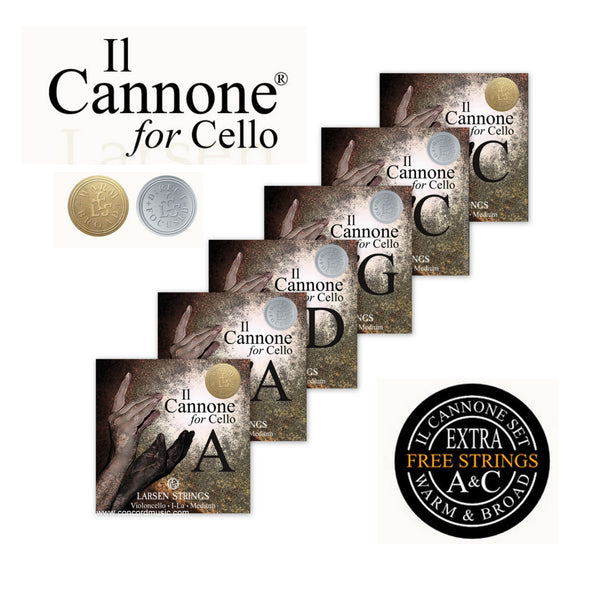 Larsen Il Cannone Cello Strings Launch set with bonus A & C