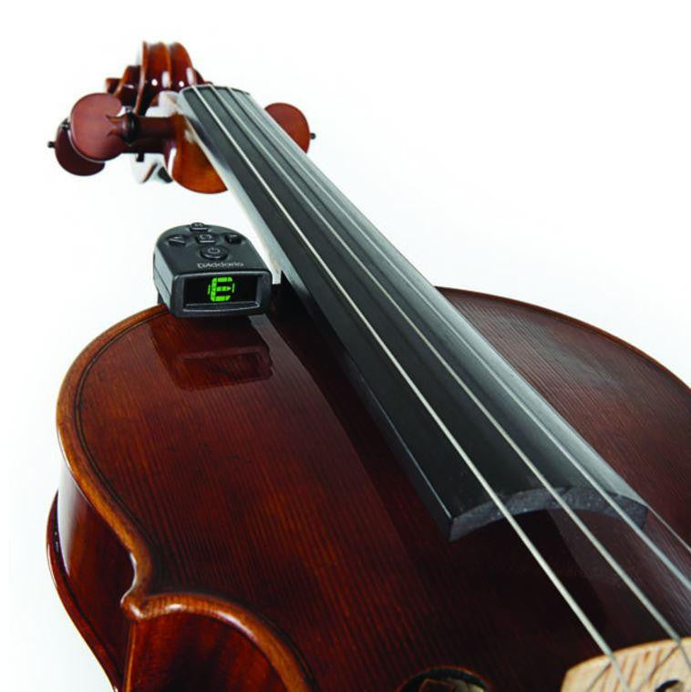 D'Addario NS Violin Micro Tuner on fiddle