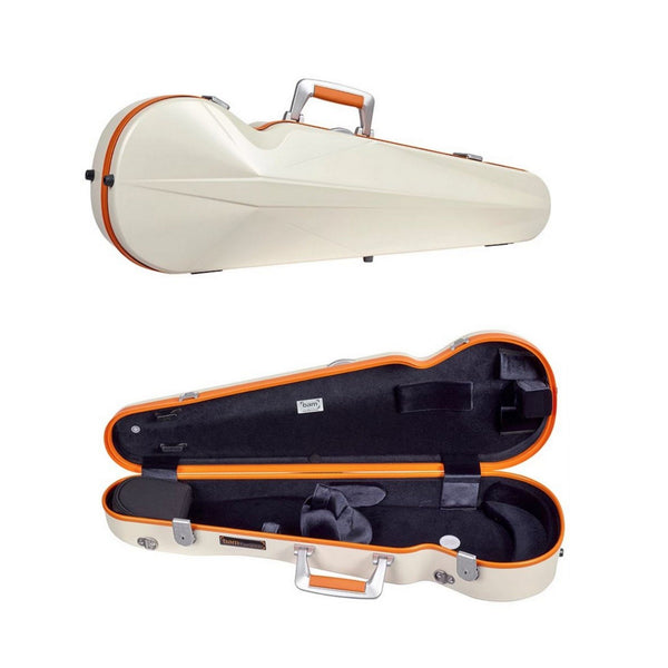 Bam supreme Ice contoured violin case white-orange color; front closed view and case open view