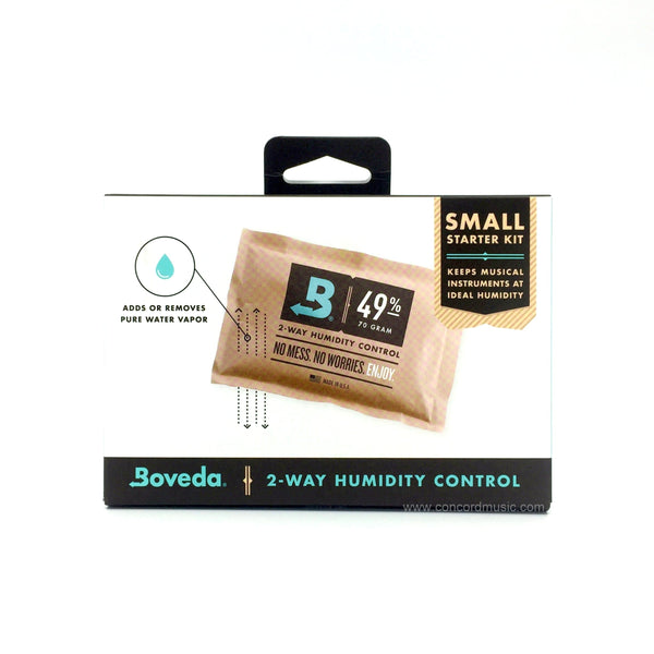 Boveda wood instrument humidifier for violin or viola starter Kit, front of package