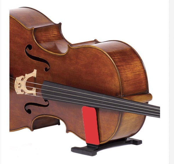 celloGard with cello in stand, red sleeves