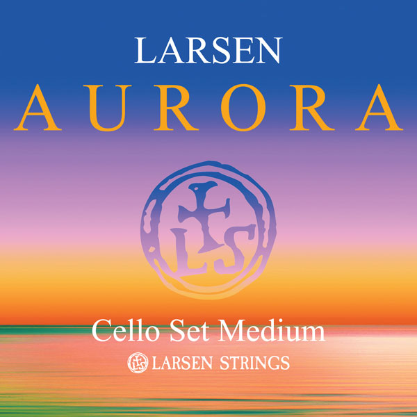 Larsen Aurora Cello Strings showing front of package